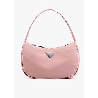 Nylon Zip Halbmond Mini Einkaufstasche rosa