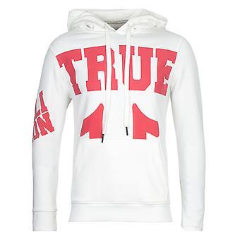 True Religion Red Logo White Hooded Sweatshirt