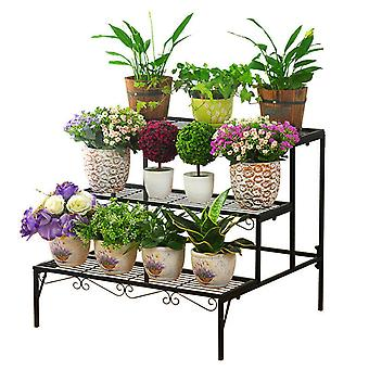 3 Tier Plant Stand Metal Ladder Potted Stand
