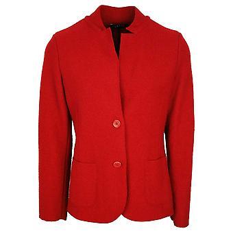 Latte Deep Red Boiled Wool Blazer Style Jacket