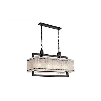 Grace Medium Rectangular Pendant, 8 Light E27, Matt Black/crystal Sand Glass
