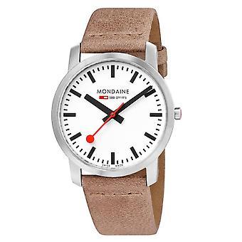 Mondaine simplesmente elegante quartzo branco dial marrom cinta de couro relógio masculino A638.30350.16SBG