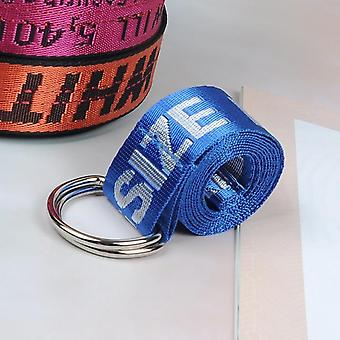 Unisex Canvas Belt, Printing Letter, D Ring, Double Buckle
