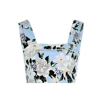 Louche Womens Gerber Floral Crop Top Blue