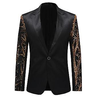 Mens Gold Sequins Slim Fit Balzer, Hip Hop Stage Singers Prom Dress Suit,