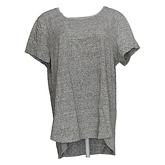 H by Halston Women's Top Donegal Knit Scoop-Neck Top Gray A308597