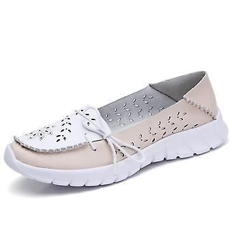 Zapatos de verano de cuero genuino mujer, bailarina sin cordones zapatos de barco de la madre