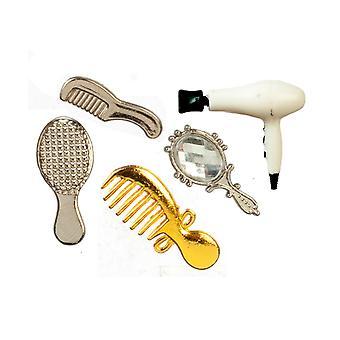 Dolls House Suszarka do włosów Brush Combs & Zestaw akcesoriów do toaletki w sypialni lustrzanej