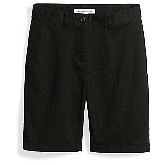 Essentials Kids Boys Gewebt Flat-Front Khaki Shorts, schwarz, 12 schlank