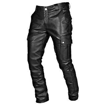 Kevään ja kesän muoti Slim Pu nahka housut korkea elastinen mies moottoripyörä