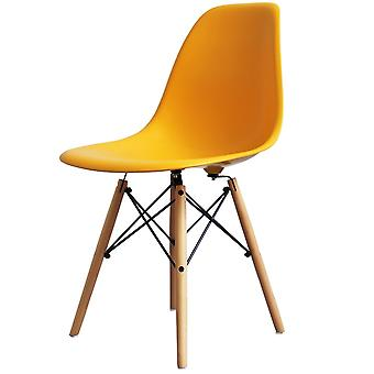 Charles Eames Style Bright Yellow Plastic Retro Side Chair - Natural Wood Legs