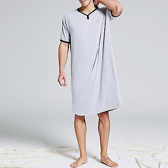 Men Short Sleeve Cotton Robes Vintage Pajamas O Neck Pockets Nightgown
