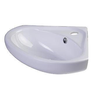 "Alfi Brand Ab109  18"" White Corner Porcelain Wall Mounted Bath Sink"