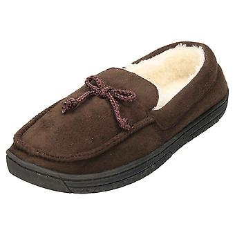 JWF Moccasin Slippers Full House Shoe Brown
