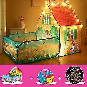 barn &ampos; telt innendørs og utendørs leketøy lekehus med hage, 50 havballer og pop lys