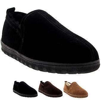 Mens Real Suede Loafer Australian Sheepskin Warm Fur Winter Slipper Shoes 6-14