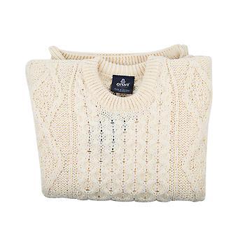 ARAN 100% ren ny ull irsk genser størrelse XS - krem, offwhite