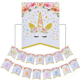 Unicorn Birthday Flag Party Letter Stamping Fish