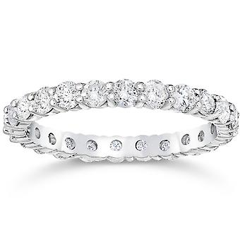 1 1/2 Ct Diamond Eternity Ring Women's Stackable 14k White Gold Band Lab Grown