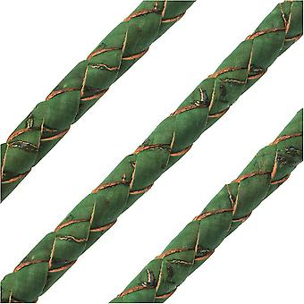 Portuguese Cork Cord by Regaliz, Round and Braided 6mm, Grass Green, by the Inch