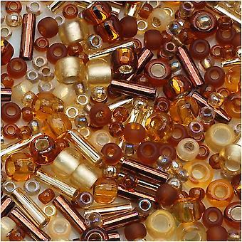 توهو متنوعة الخرز الزجاج 'كوهاكو' العنبر ميكس 8G