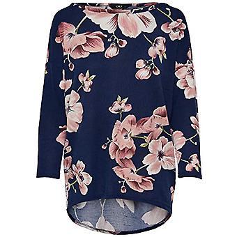 Only onlELCOS 4/5 AOP Top Jrs Noos Shirt, Mehrfarbig (Night Sky AOP:Flower Print), 40 (Größe Hersteller: Large) Damen