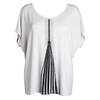 Isabel De Pedro Cream Open Zip Print Short Drop Sleeve Draped T-shirt