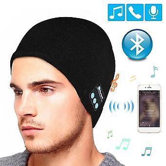Черный беспроводной bluetooth шапочка музыка наушники вязаная теплая шляпа cai866