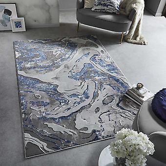 Marmorerte moderne abstrakte tepper i marineblå