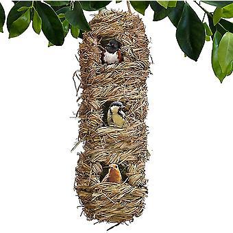 Aves de tecido à mão Gaiolas Ninho Palha Pássaro fora grama pendurado pássaro hut decoração de jardim