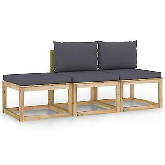 vidaXL 3-tlg. Garten-Lounge-Set mit Anthrazit Kissen