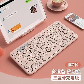 Qwert Wireless Silent Mini Gaming Keyboard Mouse Combo Round Button Magic Keyboard (rosa)