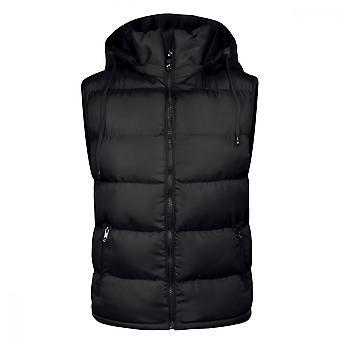 Homemiyn Men's Detachable Hooded Solid Color Vest Winter Warm Cotton Waistcoat ,black