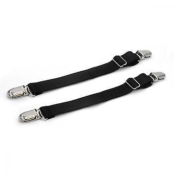 Tiras de botas, clipe antiderrapante ajustável para jeans de mesa de sofá, preto