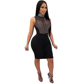 Lace Mesh Rhinestone Studded Dresses Club Sleeveless Party Dress Women Clothing(XXL)