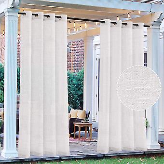 Utomhus gardiner linne ren gardin för uteplats inomhus utomhus gardin vitt linne ser halvtransparent integritet garanterat draperi med öljett topp