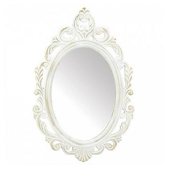 Accent Plus Distressed Vintage-Look Ornate White Mirror, Pack of 1