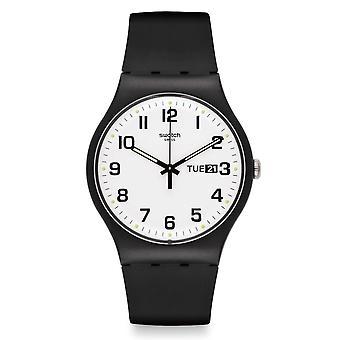 Swatch Suob705 två gånger igen vit & svart silikon klocka