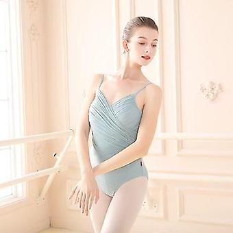 Женщины Танец Купальник Балет Плиссированный V-образный вырез Боди Нерегулярная сетчатая юбка