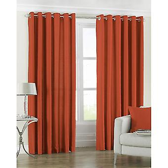 Curtains drapes riva paoletti fiji ringtop eyelet curtains pair - burnt orange - faux silk - ready made - semi