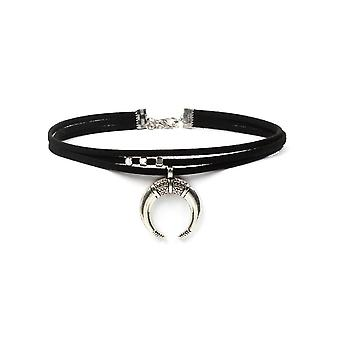 Women Black Moon Crescent Pendant Choker Sexy Rock Handmade Necklace