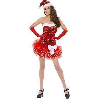 Santa jurk dames glitter jurkje en hoed kostuum sexy kerst Gr. M