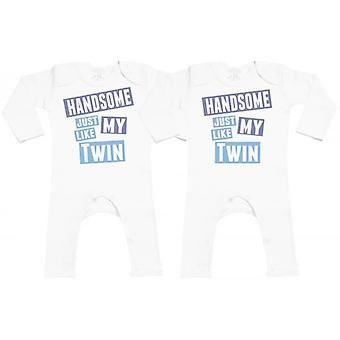 Spoilt Rotten Handsome Like My Twin Baby Footless Romper Twins Set