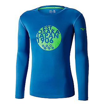 MIZUNO Kern Grafik lange Ärmel T-shirt marine-blau
