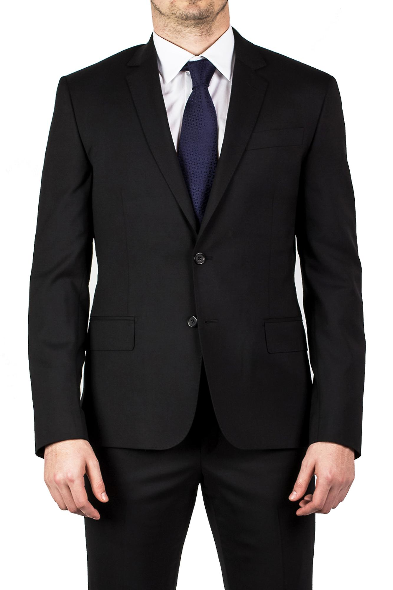 Luciano Barbera Club Men's Tailored Fit Wool Two Button Suit Black
