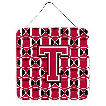 Buchstabe T Fußball Crimson und weiße Wand oder Tür hängen Drucke