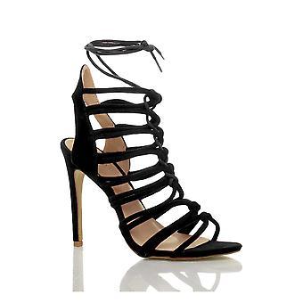 Ajvani das mulheres de salto alto tiras laço do corte ghillie enjaulado sandálias sapatos