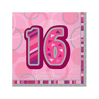 Födelsedag Glitz rosa - 16 födelsedag - lunch servetter