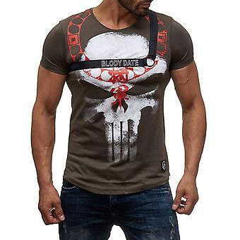 À manches courtes hommes impression de la DATE de l'O-Neck T-Shirt BLODY