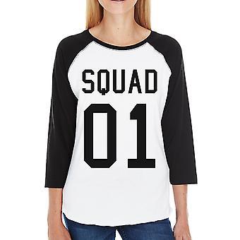 Squad01 Womens Baseball Tee Black Cute Black Raglan Shirt For Moms